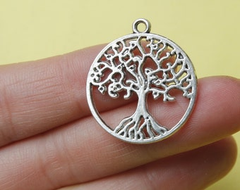 Tree of Life Charms Antique Silver Tone 2 Sided 25mm