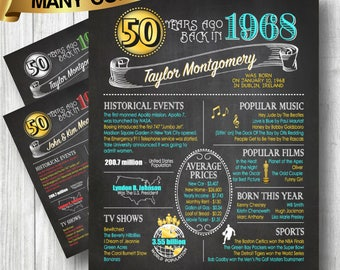 1968 - 50th Birthday or Anniversary Chalkboard Poster, Perfect Gift, Color Customizable, 50 Years Ago Sign