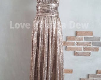 Bridesmaid Dress Infinity Dress Gold Sequin Floor Length Maxi Wrap Convertible Dress Wedding Dress