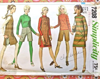 Vintage 1960s Womens Dress Pattern with Jumper Shorts and Blouse - Simplicity 7208