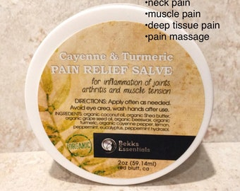 Turmeric & Cayenne Pain Salve. Increase circulation, calm inflammation, decrease pain. Great for muscles, joints, arthritis. Organic