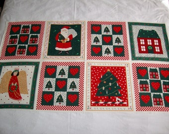 Wamsutta A Christmas Gathering hallmark cards 8 blocks quilt,pillows,appilque,vintage 100%cotton fabric