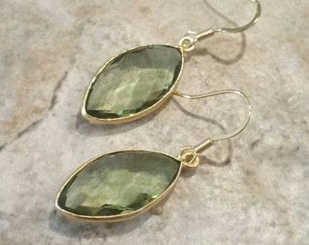 Green Amethyst Earrings Gold Prasiolite Earrings Gold Vermeil Earrings February Birthstone Jewelry Green Leaf Shape Dangle Drop Earrings