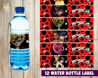 12 Miraculous Lady Bug Water Bottle Label instant download, Printable Lady Bug Water Bottle Label, Miraculous Lady Bug Water Label