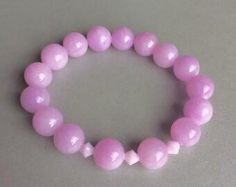 Jade Gemstone Bracelet, Natural Stone Bracelet with Swarovski Bicone, Lavender Jade Bracelet