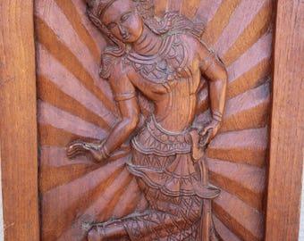 "Teak Thai Dancing Angel 22"" or Tara Carved Wood Plaque Female Buddhist Deity"