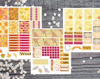 Red, Orange and Yellow Fall Theme 3 Page Set-Fall Theme Kit-Fall Colors Planner Sticker 3 Set Collection
