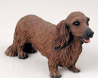 Custom Painted Dachshund Dog Figurine - Longhair