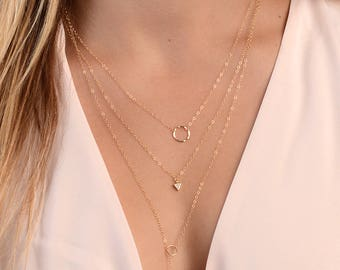 Gold Necklaces, Necklace Set, Layering Necklaces, Delicate Necklaces, Dainty Necklaces, Rose Gold Necklace, in Sterling Silver, Gold Filled
