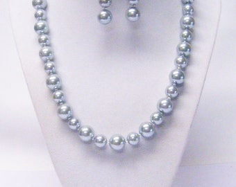 10/12mm Silver Glass Pearl Princess Necklace/Earrings