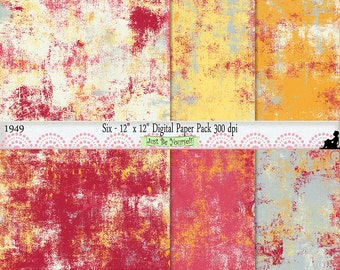 12 x 12 inch Yellow Pink Gray Painted Scrapbook Background Papers Instant Download Set of 6 Digital Cardstock JPEG Commercial Use 1949