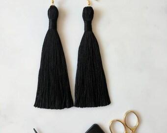 """Long Black Tassel Earrings - Big Black Tassle Earrings - 12cm 5"""" - Bronze Silver Gold Hook - Black Cotton Boho Statement Tassel Jewellery"""