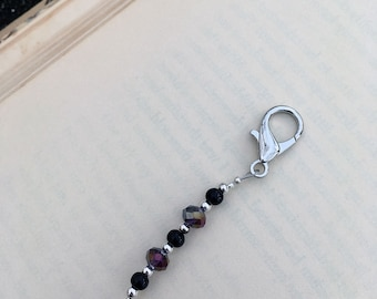 Dark Teardrop Zipper Pull Beaded Crystal Purse Charm Planner Bling Key Fob