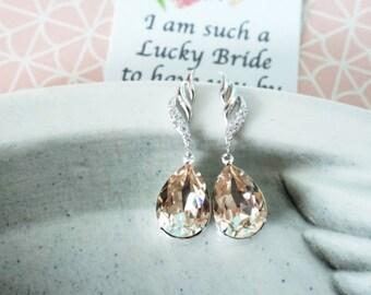 Fina - Silver Cubic Zirconia Swarovski Teardrop Crystal Earrings, Bridesmaid earrings, Bridal Wedding Jewelry, white weddings