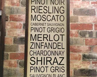 Wine list painted solid wood sign
