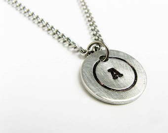 Initial Pendant - Small Single Letter Pendant on Steel Chain - Simple Personalized Layering Necklace