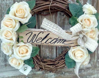 Spring Wreath, Front Door Wreath, Cream Roses Wreath, Grapevine Wreath with Lace Bow, Rustic Wreath, welcome Wreath