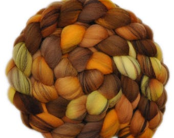 Hand dyed roving - 21.5μ Merino wool combed top spinning fiber - 4.1 ounces - Motherlode 2