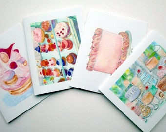 Cake Art Cards - Pastries Greeting Cards - Bakery Sweets Watercolor Art Blank Notecards - Food Illustration Cards - Set of 8 Cards