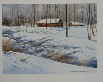 Country cabin painting, log cabin artwork, Winter landscape painting, cabin wall decor, signed original watercolor, #242