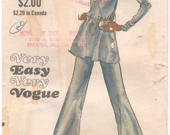 1970s - Vogue 7870 Vintage Sewing Pattern Size 10 Bust 32 1/2 Very Easy Tunic Pants Loose Yoke Full Sleeve Shirring Flared