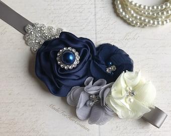 Navy Gray Ivory Bridesmaid Sash Belt, Flower girl Sash, flower girl belt, Rustic Sash, Gray Navy Flower Sash, Gray Navy Ivory flower belt