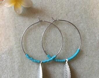 Hoop earrings, rose and leaf beads
