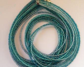Aqua Multistrand Necklace