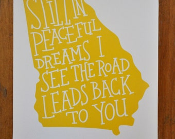 """Georgia on My Mind- hand lettered print 8""""x10"""", yellow"""