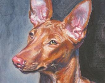"PHARAOH HOUND dog portrait art canvas PRINT of LAShepard painting 8x10"""