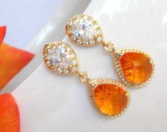 Wedding Jewelry, Cubic Zirconia and Orange Earrings, Bridal Jewelry, Tangerine, Carnelian, Gold Earrings Post, Bridesmaids Gifts,Dangle,Gift