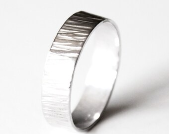 Ring - Textured Sterling Silver Ring Band - Hammered - Unisex Wedding Band - Bark Ring - Nature - Branch - Promise Ring - Men's Wedding Ring