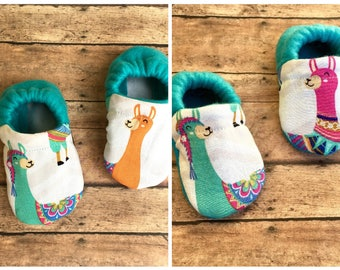 Boho Llamas Baby Moccasins - Pastel Colored Toddler Crib Shoes - Soft Sole Booties, Bohemian Baby Clothing - Baby Shower Gift - Teal + Pink