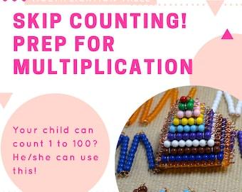 Montessori short bead chain / prep for multiplication / Math material / skip counting/educational material / homeschooler