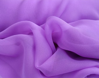 """Pure Silk Chiffon LILAC, LAVENDER fabric 138 cm (54"""") wide availale by the metre medium weight"""