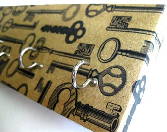 "Key Rack and Jewelry Holder  - ""Vintage Keys"" -  Antique Brown, Tan, Beige, Vintage Rustic Keys, Old Keys, Black and Brown"