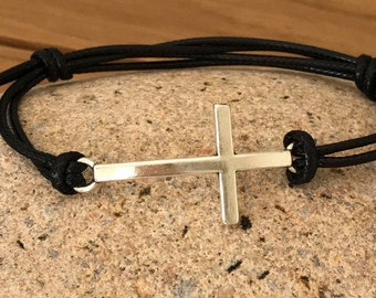 black cross cord bracelet silver