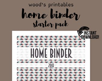 home binder pdf printable financial planner household binder planner kit grocery list