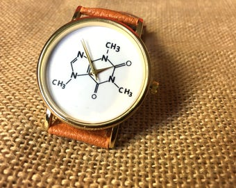Cats watch, engraved watch, Yoga watch, world map watch,  Leather watch band, chemistry physics, atomic