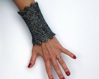 Lace wrist warmers, Black arm warmers, Knit cuff bracelett, Lace wrist band, Knit wrist warmers, Gothik arm warmers, Gift for her