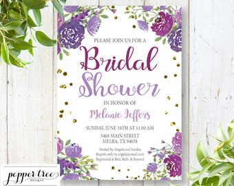 Bridal Shower Invitation with Purple Flowers and Gold Confetti look - Wedding Shower Invitation with flowers #MELANIE01