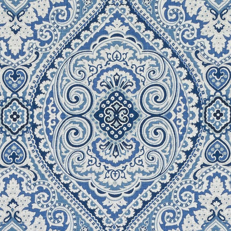 Navy Blue Medallion Upholstery Fabric Navy White Paisley