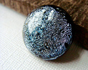 Dichroic Fused Glass Cabochon 23 mm Silver Sparkle