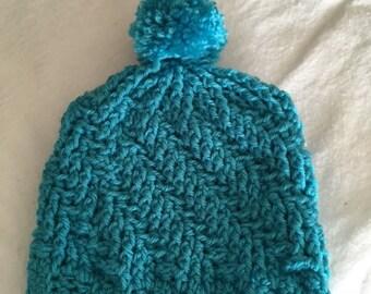 Turquoise Pom Pom Hat