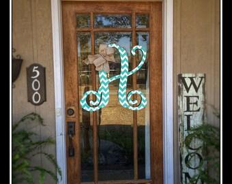 Initial Door Hanger Initial Door Wreath Door Hanger Monogram Door Hanger Wedding & Turquoise initials | Etsy