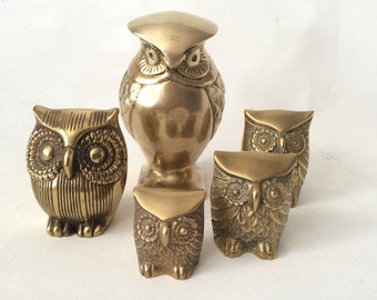 Vintage Mid Century Hollywood Regency Brass Owl Collection