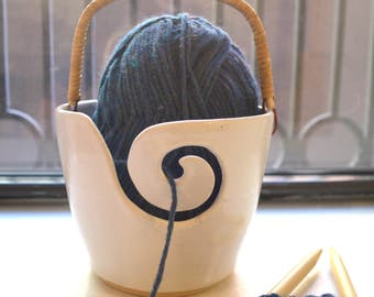 Yarn Bowl Knitting Basket with Handle - Handmade in New York - MADE TO ORDER
