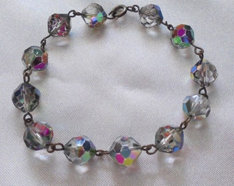 vintage costume jewelry bracelet iridescent crystal wire bead clasp child small woman
