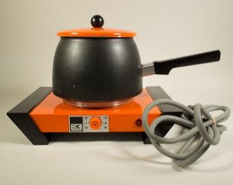 Vintage electric fondue set, Kalorik, type 5400, enamel, orange black fondue set, fondue pot