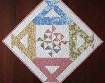 Quilted Table Topper,  Blue Pink Green Yellow on White